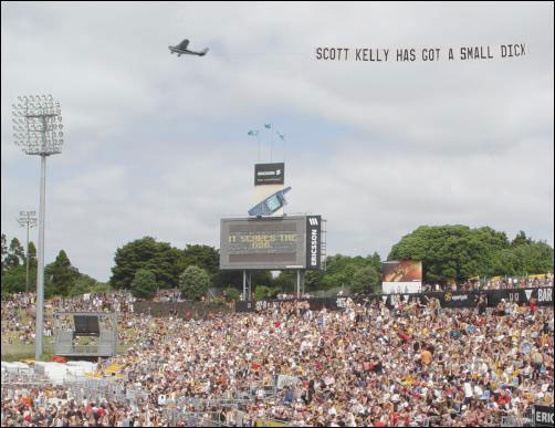 plane flying scott has got a small willy sign