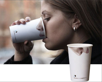 nose and lips printed on cup