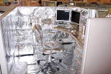 desk covered in tin foil
